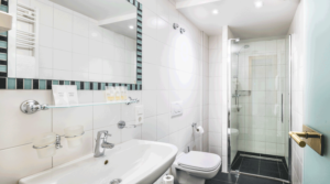 Hotel bathroom with shower